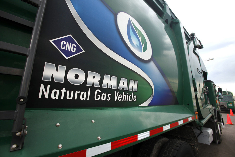 One of Norman's compressed natural gas-powered garbage trucks sits on display at the grand opening of the city's fueling station Friday. PHOTO BY PAUL B. Southerland, THE OKLAHOMAN <strong>PAUL B. SOUTHERLAND</strong>