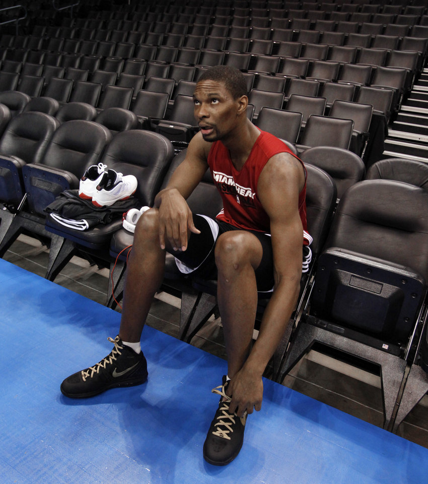 OKLAHOMA CITY THUNDER / MIAMI HEAT / NBA FINALS / NBA BASKETBALL: Miami Heat's Chris Bosh prepares to speak to reporters following practice before game two of the NBA basketball finals at the Chesapeake Energy Arena on Thursday, June 14, 2012 in Oklahoma City, Okla.  Photo by Steve Sisney, The Oklahoman