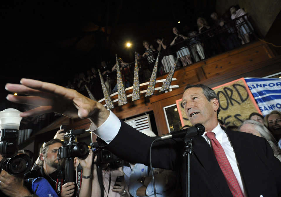 Former South Carolina Gov. Mark Sanford gives his victory speech after wining back his old congressional seat in the state's 1st District on Tuesday, May 7, 2013, in Mt. Pleasant, S.C. (AP Photo/Rainier Ehrhardt)