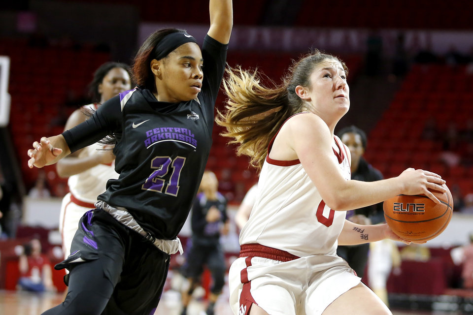 Photo -  Oklahoma's Jessi Murcer, right, drives to the hoop as Central Arkansas' Shay Johnson defends during Wednesday night's game at Lloyd Noble Center in Norman. [PHOTO BY BRYAN TERRY, THE OKLAHOMAN]