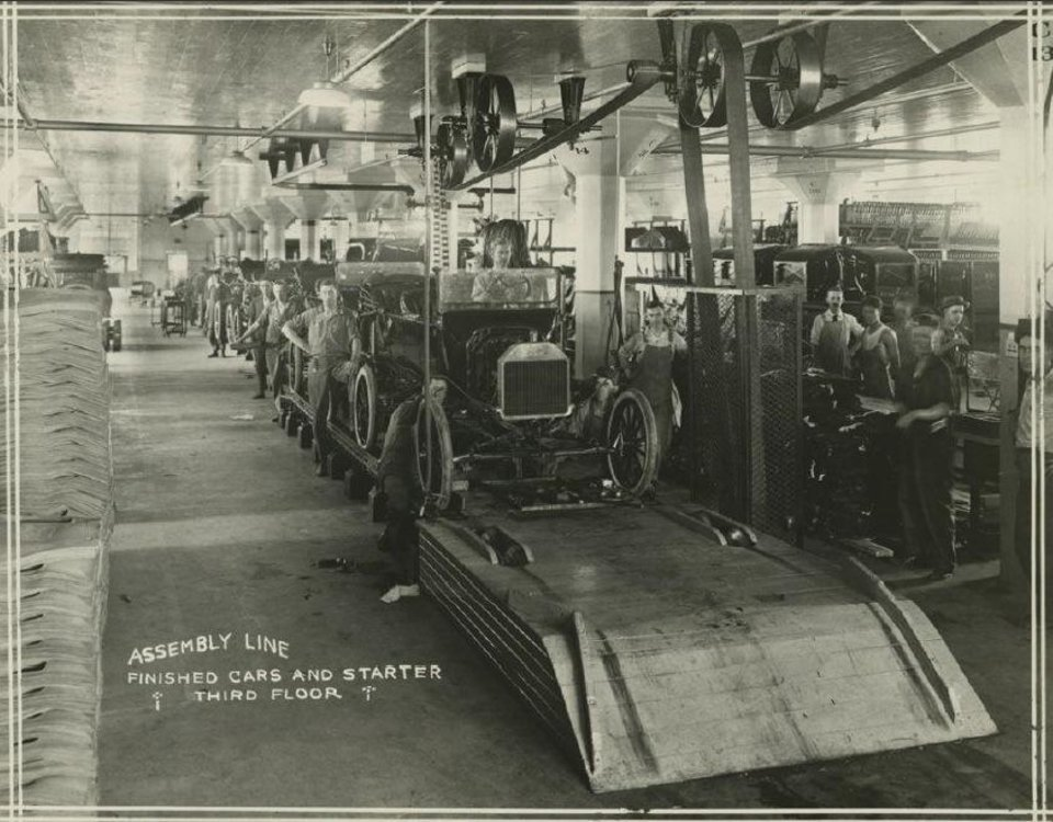 Photo -  Ford Model T cars are seen on the assembly line at the company's plant in Oklahoma City shortly after operations started in 1916. Courtesy Collections of Henry Ford