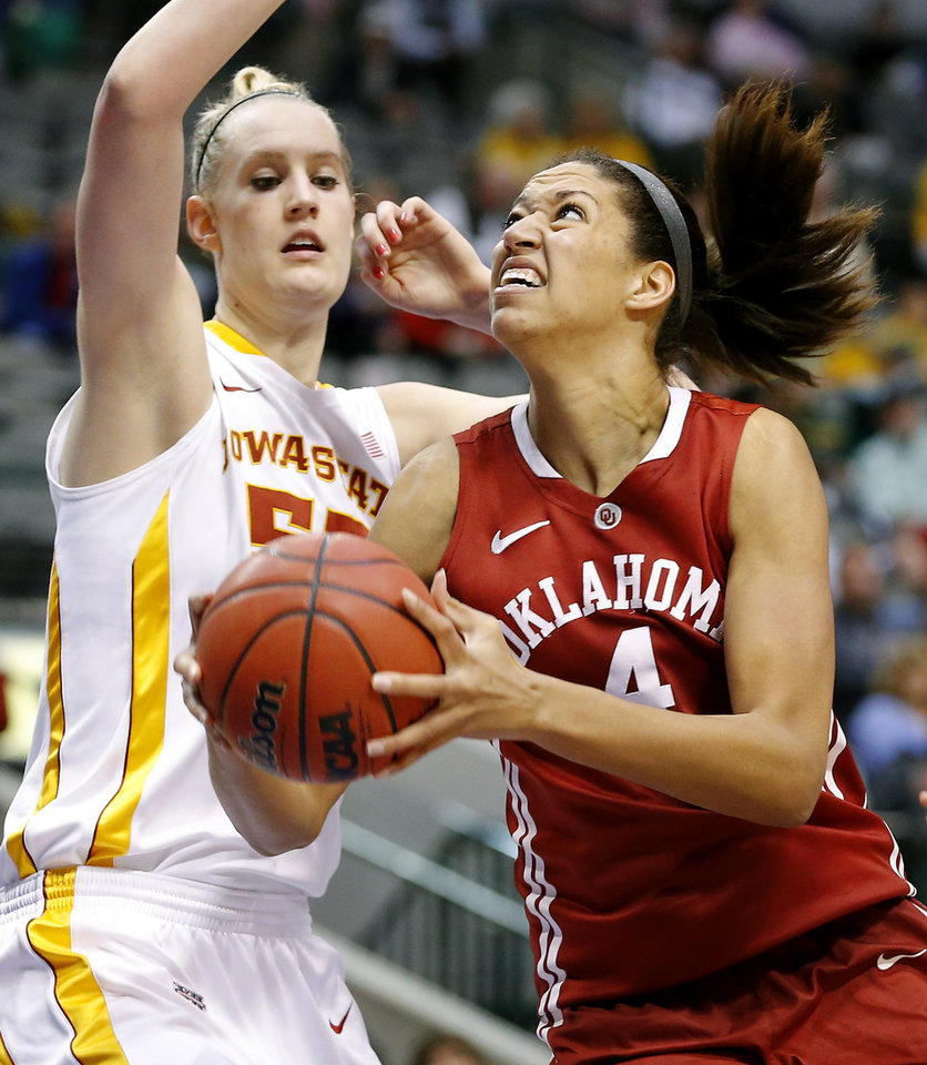 Oklahoma's Nicole Griffin (4) tries to get past Iowa State's Anna Prins (55) during the Big 12 tournament women's college basketball game between the University of Oklahoma and Iowa State University at American Airlines Arena in Dallas, Sunday, March 10, 2012.  Oklahoma lost 79-60. Photo by Bryan Terry, The Oklahoman