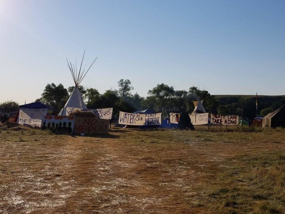 Photo -  Tents and tepees cover an area known as the Red Warrior prayer camp near the Standing Rock Sioux Tribe protests in North Dakota. [Photo provided]