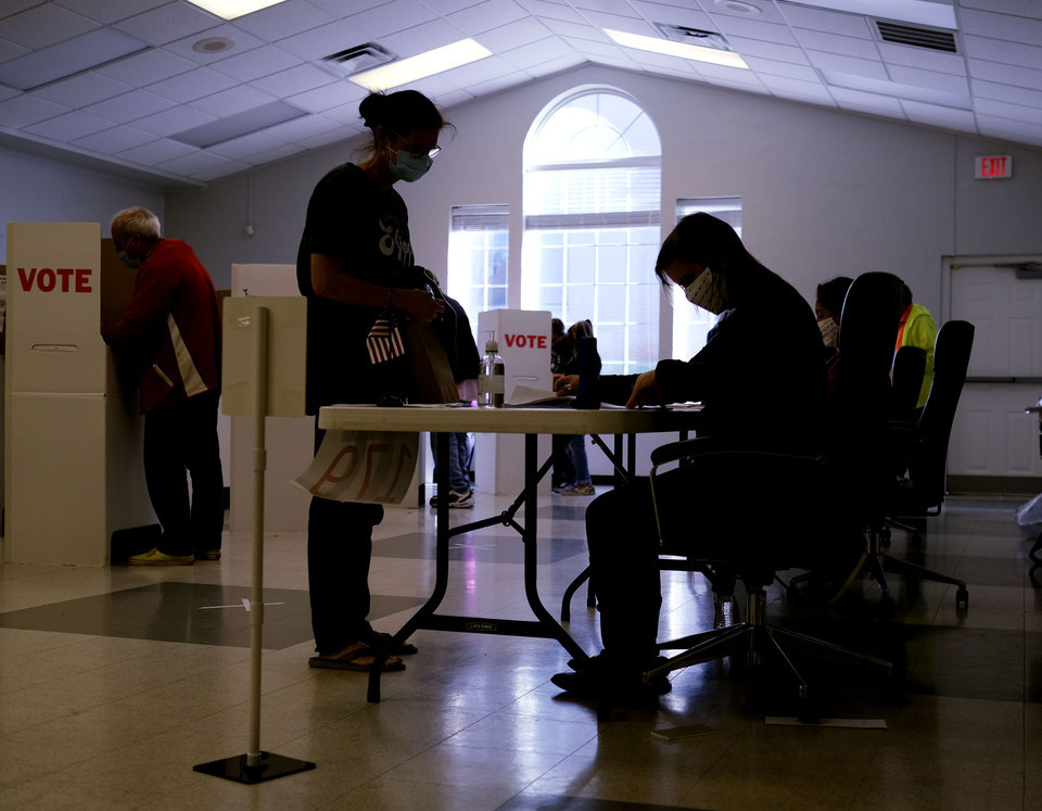 Photo - Election Day voting at Mayflower Congressional Church in Oklahoma City, Tuesday, November 3, 2020. [Doug Hoke/The Oklahoman]