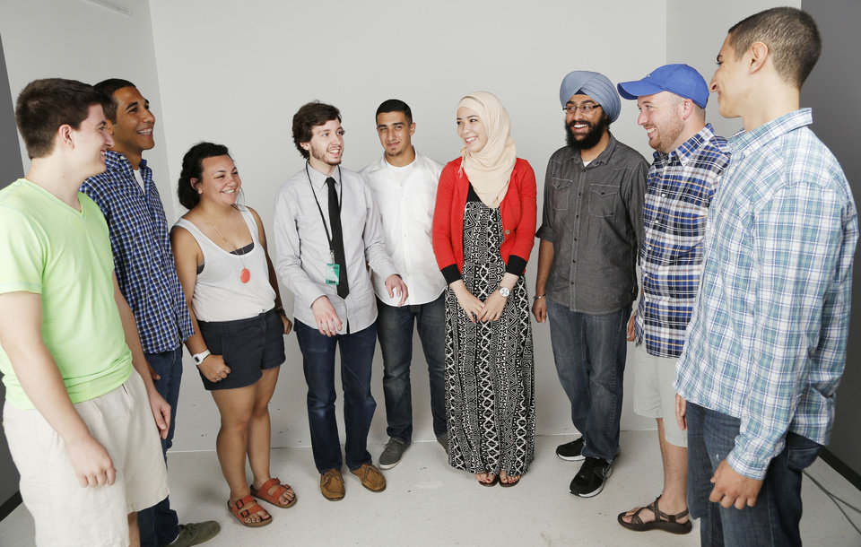 Photo - From left: Matt Patrick, Evan Traylor, Sammi Donchin, Andrew Stogkill, Yazan Salus, Layan Salous, Simar Singh, Trey Witzel and Samer Abdelkander are some of the young leaders of their respective faith traditions.   DOUG HOKE - THE OKLAHOMAN