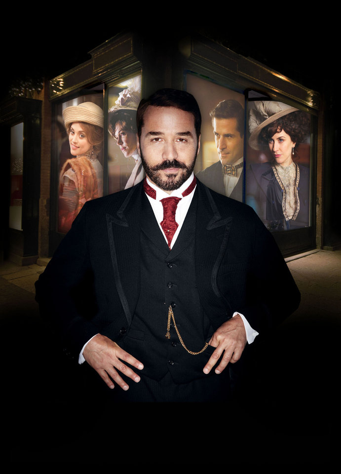 Mr. Selfridge Sundays, March 31 - May 19, 2013  Shown in foreground: Jeremy Piven as Harry Gordon Selfridge Shown in background from left to right: Zoe Tapper as Ellen Love, Frances O'Connor as Rose Selfridge, Gregory Fitoussi as Henri Leclair, and Katherine Kelly as Lady Mae (C) ITV Studios for MASTERPIECE This image may be used only in the direct promotion of MASTERPIECE. No other rights are granted. All rights are reserved. Editorial use only.