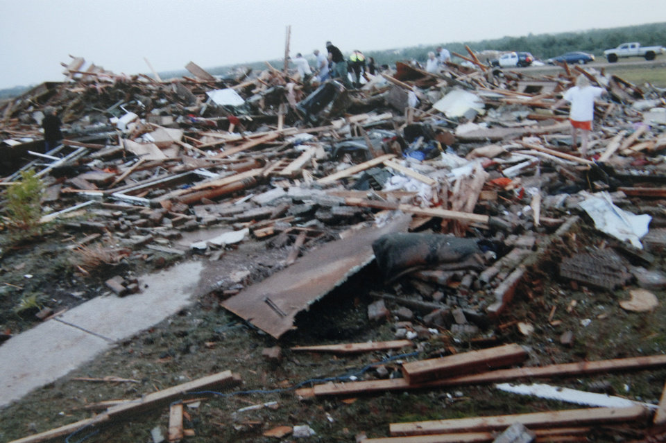 Photo - Copy photo of Chad and Becky Brown's home that was destroyed in the May 24, 2011 tornado, Wednesday, May 16, 2012.   Photo provided. Copied By David McDaniel/The Oklahoman