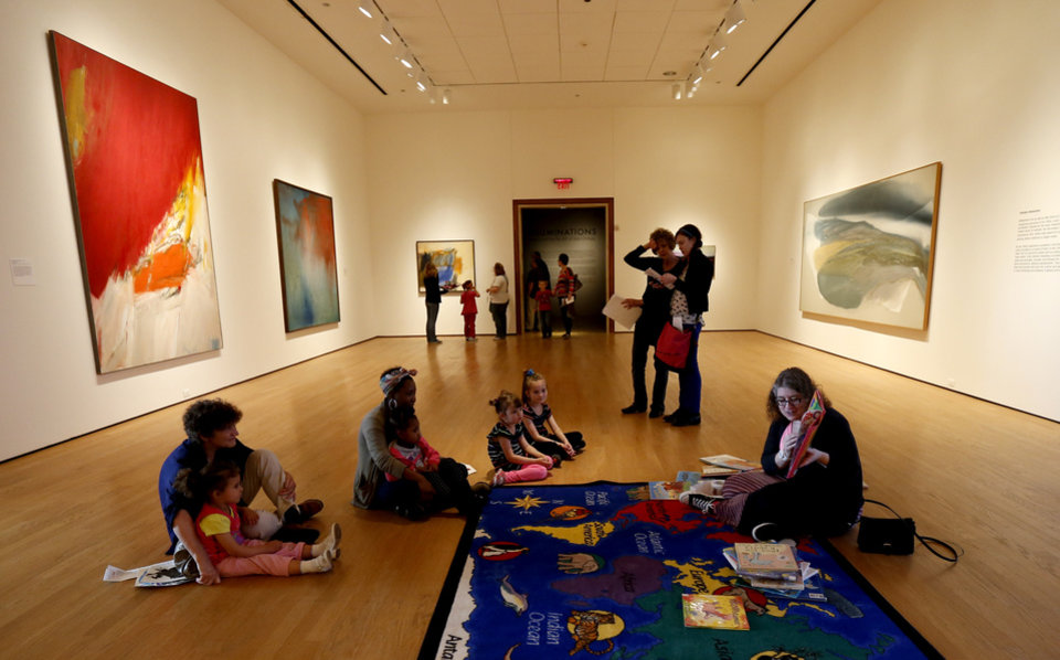 Children listen to a story during the Oklahoma City Museum of Art's Family Day on Saturday, April 13, 2013. Photo by Bryan Terry, The Oklahoman