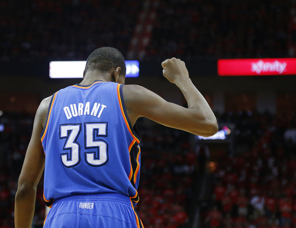 Oklahoma City's Kevin Durant (35) pumps his fist during Game 6 in the first round of the NBA playoffs between the Oklahoma City Thunder and the Houston Rockets at the Toyota Center in Houston, Texas, Friday, May 3, 2013. Oklahoma City won 103-94. Photo by Bryan Terry, The Oklahoman