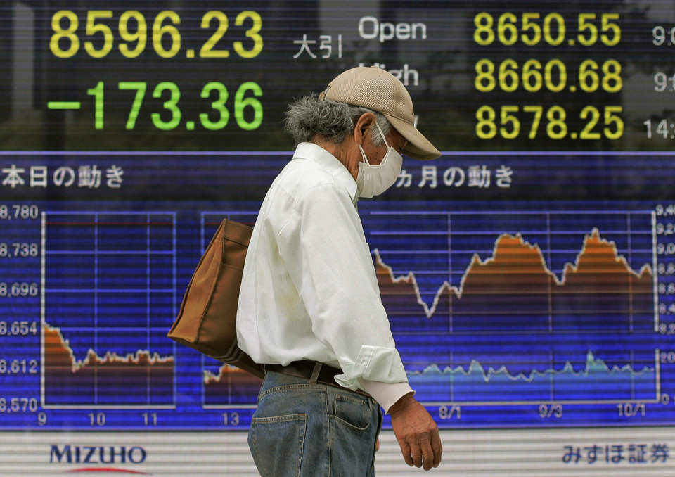 Photo -   A man walks in front of the electronic stock board of a securities firm showing Japan's Nikkei 225 index falling 173.36 points to 8596.23 in Tokyo, Wednesday, Oct. 10, 2012. Worries about Europe's debt crisis, signs of weak global growth and expectations of lower U.S. corporate earnings sent most Asian stock markets down Wednesday. (AP Photo/Itsuo Inouye)