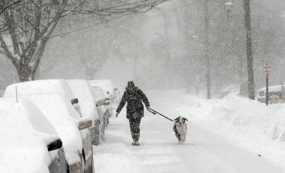 Photo - Robin Muskal of Morristown, N.J., walk her Swiss mountain dog Oscar Olly down Mills Street in Morristown as the heaviest snowfall of the season comes down on Morris County as a formidable winter storm moved into the state Thursday Feb. 13, 2014.  Some areas of New Jersey had nearly a foot of snow by midday Thursday.     (AP Photo/The Daily Record, Bob Karp)  NO SALES