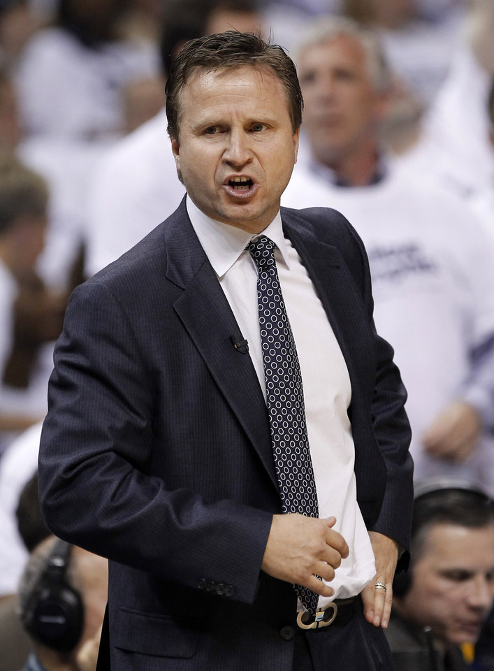 Oklahoma City Thunder head coach Scott Brooks yells to his players during the first half of Game 6 against the Memphis Grizzlies in a second-round NBA basketball playoff series on Friday, May 13, 2011, in Memphis, Tenn. (AP Photo/Lance Murphey)