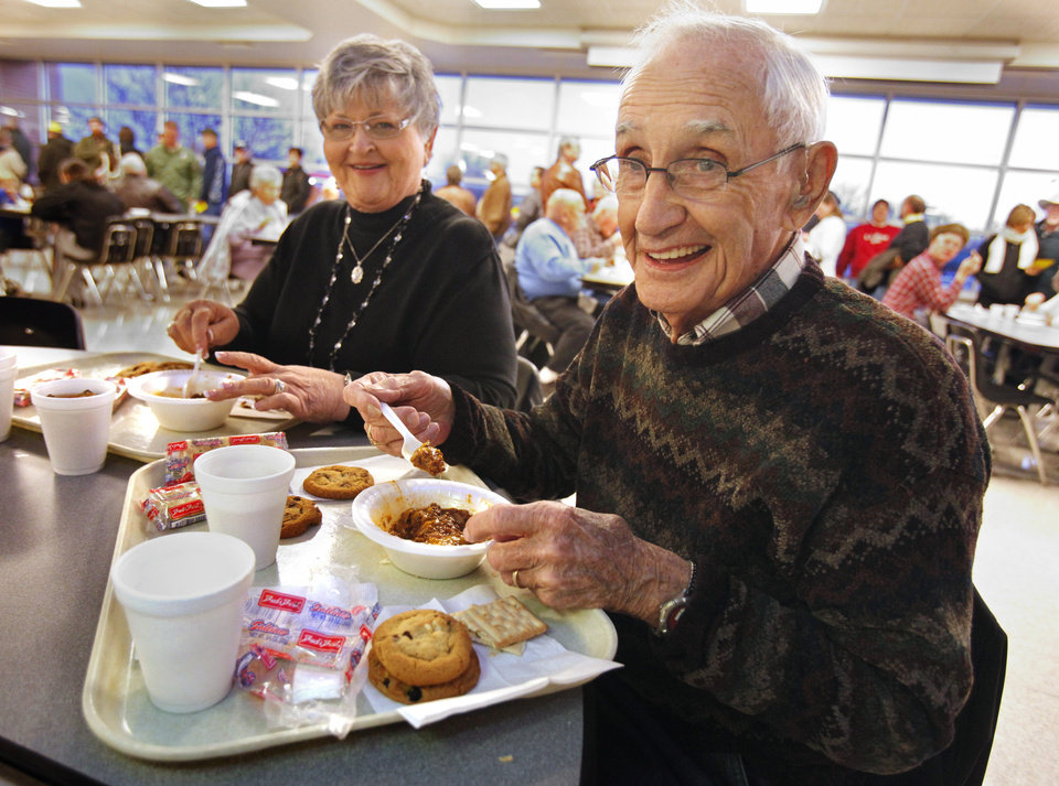 Gerald and Julia Guy eat at the annual Police and Firemen's Benefit Chili Supper on Thursday, Jan. 12, 2012, in Norman, Okla.   Photo by Steve Sisney, The Oklahoman
