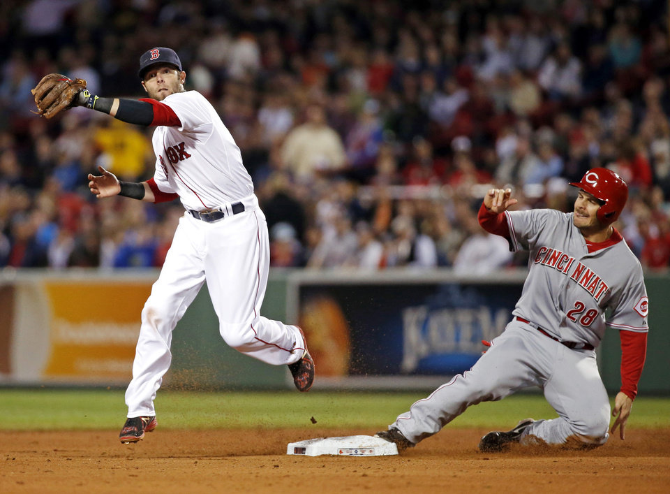 Photo - Cincinnati Reds' Chris Heisey (28) is forced at second base as Boston Red Sox second baseman Dustin Pedroia prepares to turn a double play on Reds' Zack Cozart during the fifth inning of a baseball game at Fenway Park in Boston, Wednesday, May 7, 2014. (AP Photo/Elise Amendola)