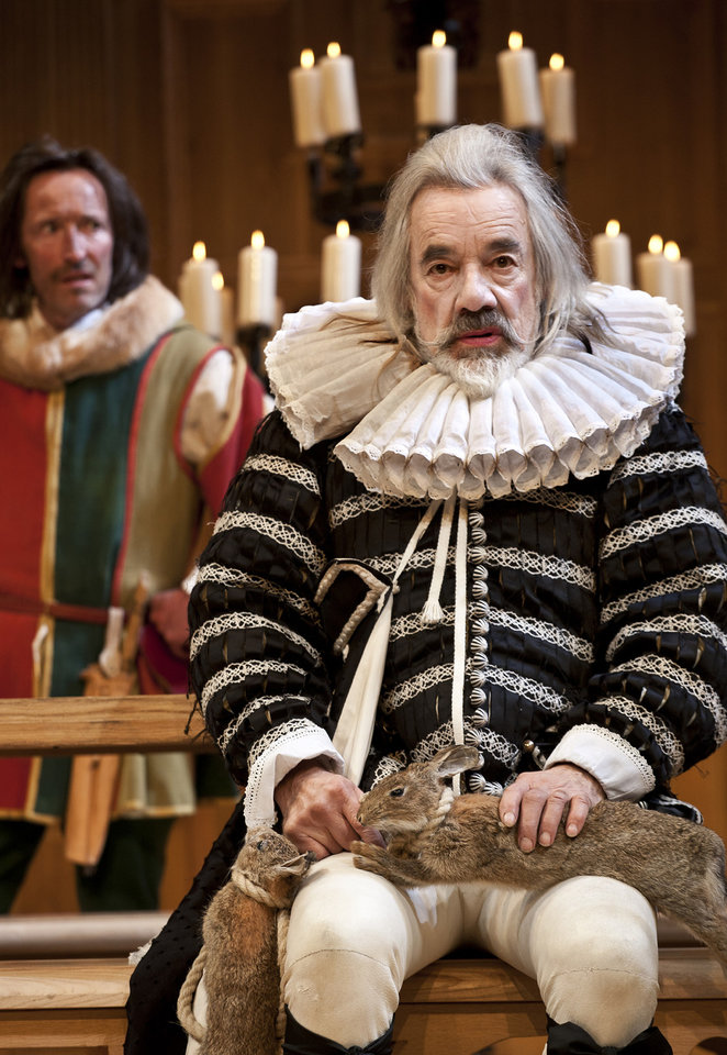 Photo -   In this image provided Monday Nov. 19, 2012 by Sonia Friedman Productions, Roger Lloyd Pack, as the character Sir Andrew Aguecheek, during a dress rehearsal in