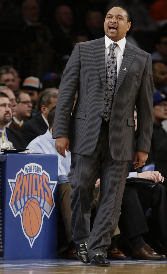 Golden State Warriors\' Mark Jackson calls out to his team during the first half of an NBA basketball game against the New York Knicks, Wednesday, Feb. 27, 2013, in New York. (AP Photo/Frank Franklin II)