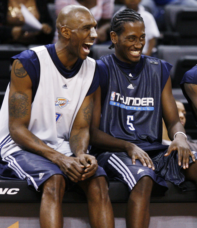 Joe Smith, left, and Kyle Weaver share a laugh during the open practice for the Oklahoma City Thunder NBA basketball team at the Ford Center in Oklahoma City, Monday, October 20, 2008. BY NATE BILLINGS, THE OKLAHOMAN