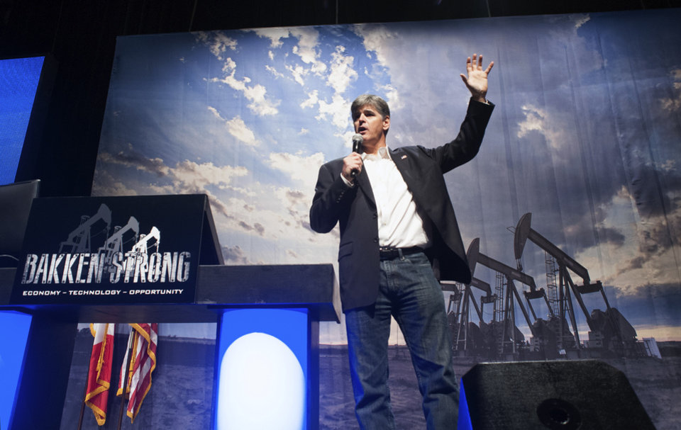 Photo - Political commentator Sean Hannity addresses the crowd while delivering his speech,