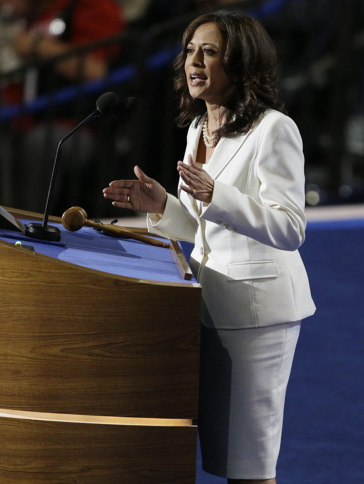 Photo - California Attorney General Kamala D. Harris speaks to delegates at the Democratic National Convention in Charlotte, N.C., on Wednesday, Sept. 5, 2012. (AP Photo/Lynne Sladky)  ORG XMIT: DNC164