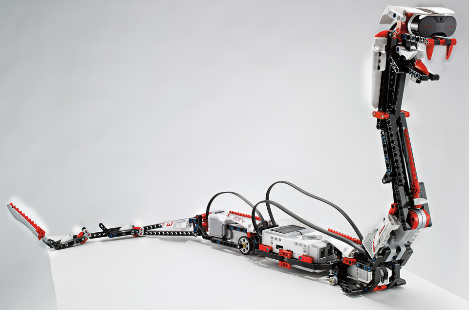 "This undated photo provided by Lego shows ""Reptar,"" a robotic snake that is one of 17 possible creations available in the new, $350 Lego Mindstorms EV3 platform that will have the ability to talk to iPhones, iPads and iPod Touches through Bluetooth wireless connections. Lego is scheduled to announce the kit at the International Consumer Electronics Show, Monday, Jan. 7, 2013, in Las Vegas. (AP Photo/LEGO)"