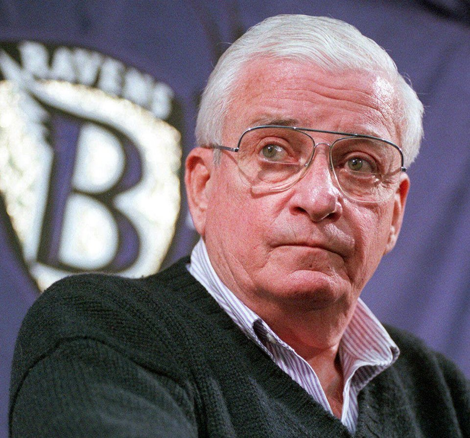Photo -   FILE - This Dec. 28, 1998 file photo shows Baltimore Ravens owner Art Modell listening to a reporters question during a news conference at the Ravens training facility in Owings Mills, Md. Former Ravens owner Modell has died. He was 87. The team said Modell died of natural causes early Thursday, Sept. 6, 2012, at Johns Hopkins Hospital, where he had been admitted Wednesday. (AP Photo/John Gillis, File)
