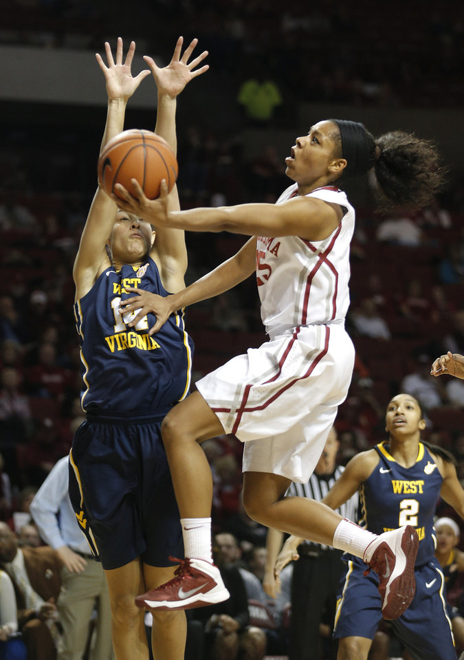 Oklahoma Gioya Carter (25) shoots as West Virginia forward Jess Harlee (14) defends  during the women's basketball game between, University of Oklahoma and West Virginia, Thursday, Feb. 13, 2014, in Norman, Okla. Photo by Sarah Phipps, The Oklahoman