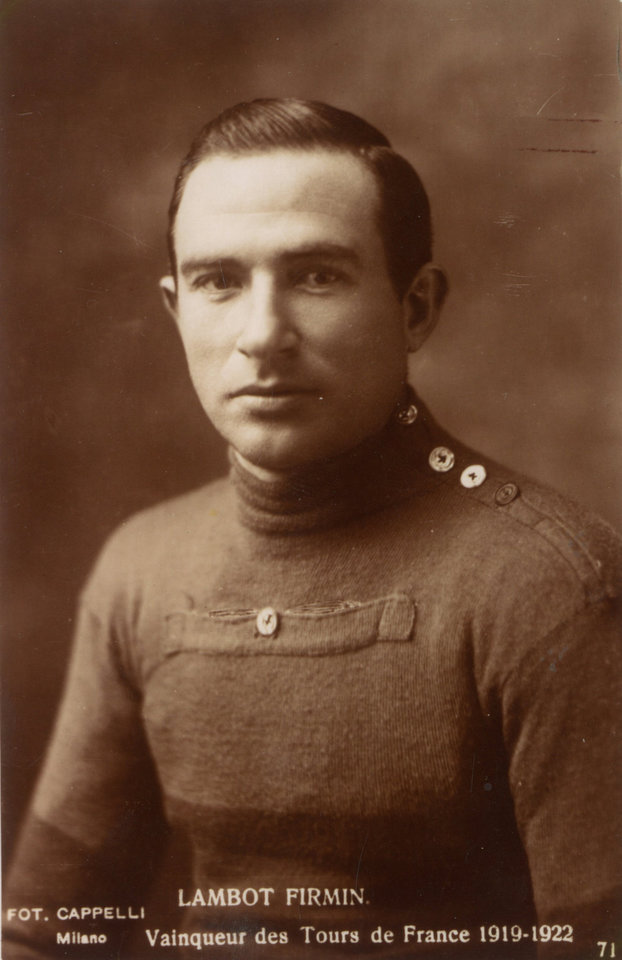 Photo - In this undated photo provided by the WielerMuseum Roeselare, Belgian cyclist and 1919 Tour de France winner Firmin Lambot. Four years of war ravaged the roads and the landscapes of both France and Belgium and made the race of 1919 much more difficult. Three former winners, Octave Lapize, Francois Faber and Lucien Petit-Breton all died in previous years fighting in the war. (AP Photo/Wielermuseum)