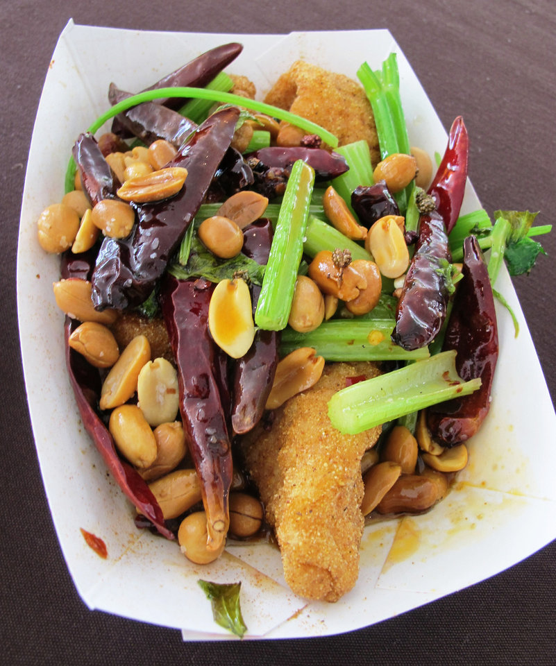 Photo - Kung Pao Catfish was among the offerings from chef Danny Bowien, who grew up in south Oklahoma City, of Mission Chinese Restaurant in San Francisco and New York City.  DAVE CATHEY - THE OKLAHOMAN