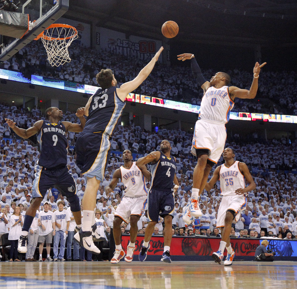 Oklahoma City's Russell Westbrook (0) passes the ball during game five of the Western Conference semifinals between the Memphis Grizzlies and the Oklahoma City Thunder in the NBA basketball playoffs at Oklahoma City Arena in Oklahoma City, Wednesday, May 11, 2011. Photo by Bryan Terry, The Oklahoman