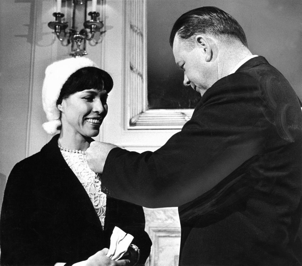 "Oklahoma Indian ballerina Maria Tallchief is made a member of the state's ambassador corps by Governor Henry Bellmon during Friday ceremonies at the state capitol launching ""Showcase '67"". Staff photo by Bob Albright taken 11/18/66; photo ran in the 11/19/66 Daily Oklahoman."