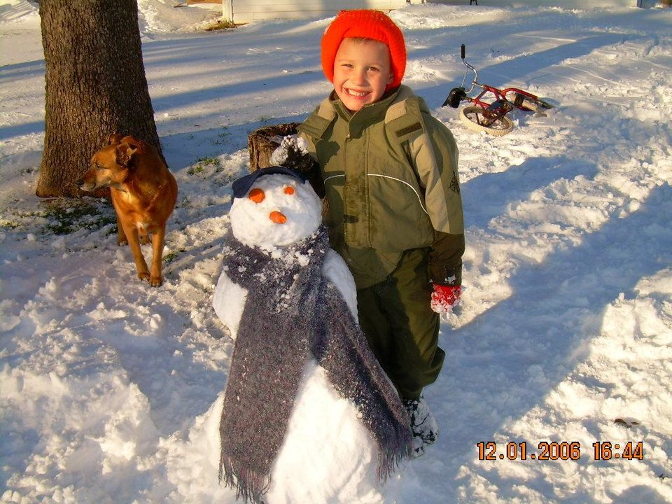 Brian and his snowman.<br/><b>Community Photo By:</b> Gail McKenzie<br/><b>Submitted By:</b> Gail, Chandler