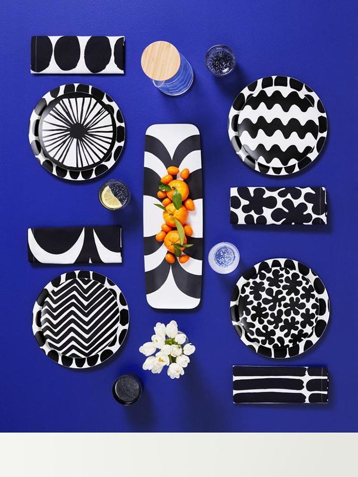 Photo - Marimekko for Target, 4 pack cotton napkin set, $10, Melamine salad plate set, $10, acrylic pitcher with tumblers, $20 and serving tray, $12.