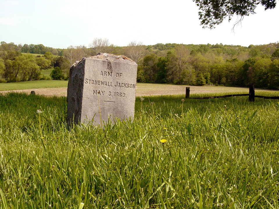 "This photo provided by National Park Service shows a tombstone for a the amputated arm of Confederate Gen. Thomas J. ""Stonewall"" Jackson near Orange County, Va. On Friday, May 10, 2013, the 150th anniversary of Jackson's death, a trauma surgeon with experience on the battlefield in Iraq and Afghanistan has reinvestigated the medical record to offer a diagnosis of Jackson's death. University of Maryland surgeon Joseph DuBose says Jackson likely died of pneumonia. He is confirming the diagnosis given by Jackson's physician, the famed Confederate doctor Hunter McGuire. (AP Photo/National Park Service)"