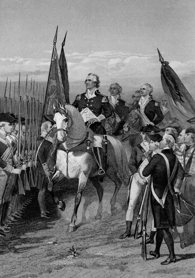 Photo -   George Washington presents himself at head of army at Cambridge, Mass., on July 3, 1775. From Dorchester Heights, he laid siege to British in Boston. Latter evacuated city following March, taking garrison of 8,000 to New York. The U.S. has been borrowing since the 1700s, when it needed money to finance the American Revolution. The outstanding debt has since risen to a shade over $16 trillion. While there's plenty of finger-pointing by politicians over who's to blame, deficits historically surge during wars and deep recessions, and the U.S. has had both over the past decade. The budget deficit _ the shortfall created when the government spends more in a given year than it collects in taxes and fees_ is on track to top $1 trillion for the fourth straight year. When there's not enough to pay current bills, the government borrows, mostly by selling interest-bearing Treasury bonds, bills and notes to investors and governments worldwide. It now borrows about 40 cents for every dollar it spends. The national debt refers to the total amount the federal government owes; the deficit is just a one-year slice. (AP Photo)