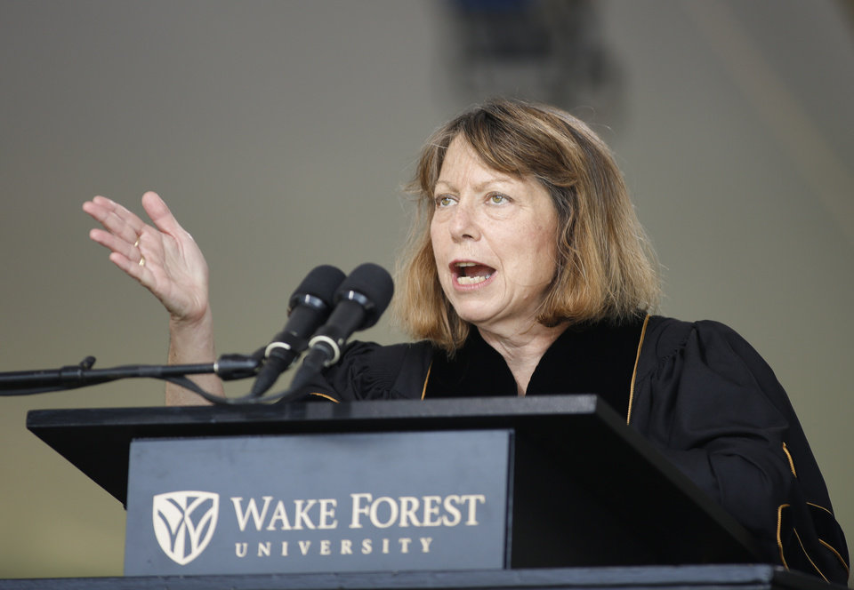 Photo - Jill Abramson, former executive editor of The New York Times, speaks at the commencement ceremony at Wake Forest University in Winston-Salem,N.C., Monday, May 19, 2014.