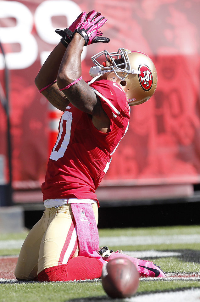 San Francisco 49ers wide receiver Kyle Williams (10) celebrates after scoring on a touchdown pass from quarterback Alex Smith during the second quarter of an NFL football game against the Buffalo Bills, Sunday, Oct. 7, 2012, in San Francisco. (AP Photo/Tony Avelar)