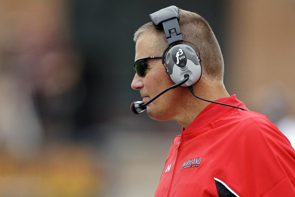 Photo -   Maryland head coach Randy Edsall watches from the sideline during the third quarter of a NCAA college football game against William & Mary, Saturday, Sept. 1, 2012, in College Park, Md. Maryland won 7-6. (AP Photo/Luis M. Alvarez)