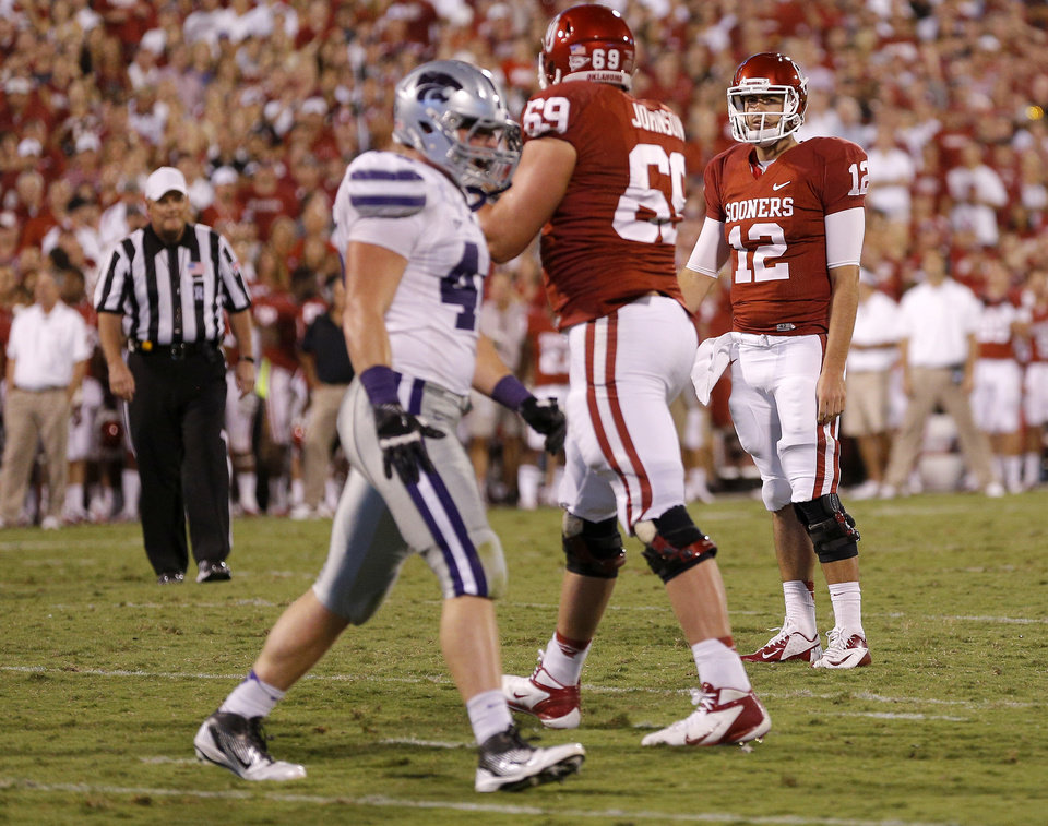 Oklahoma\'s Landry Jones (12) reacts after missing the two-point conversion during a college football game between the University of Oklahoma Sooners (OU) and the Kansas State University Wildcats (KSU) at Gaylord Family-Oklahoma Memorial Stadium, Saturday, September 22, 2012. Oklahoma lost 24-19. Photo by Bryan Terry, The Oklahoman