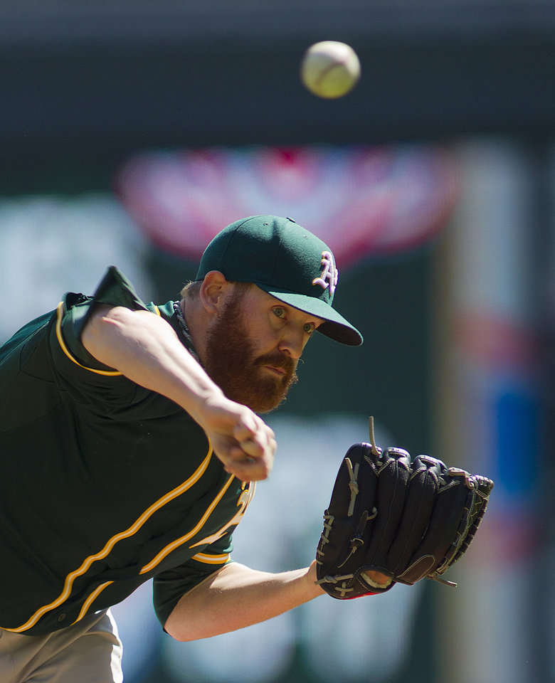 Photo - Oakland Athletics starting pitcher Dan Straily (67) throws against the Minnesota Twins in the first inning of a baseball game on Thursday, April 10, 2014 in Minneapolis.(AP Photo/Andy Clayton-King)