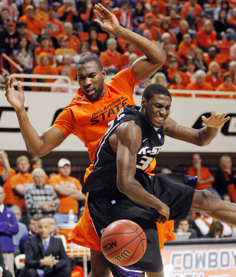 Photo - OSU's Matt Pilgrim (31) and Wally Judge (33) of KSU chase the ball during the men's college basketball game between Oklahoma State University (OSU) and Kansas State University (KSU) at Gallagher-Iba Arena in Stillwater, Okla., Saturday, January 8, 2011. Photo by Nate Billings, The Oklahoman