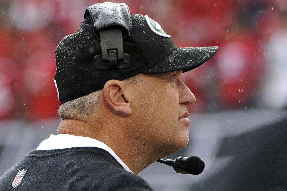 Photo -   New York Jets head coach Rex Ryan watches his team during the second half of an NFL football game against the San Francisco 49ers, Sunday, Sept. 30, 2012, in East Rutherford, N.J. San Francisco won 34-0. (AP Photo/Bill Kostroun)