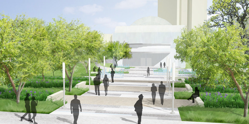Plans for the Myriad Gardens makeover include a new south grand entryway facing Reno Avenue where there is an unsightly parking lot and loading area.Provided by Oklahoma City Parks Department