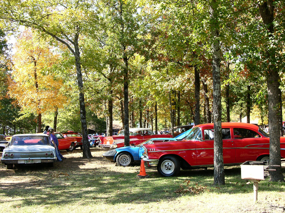 Above: Classic cars line up for display at the Robbers Cave Fall Festival.