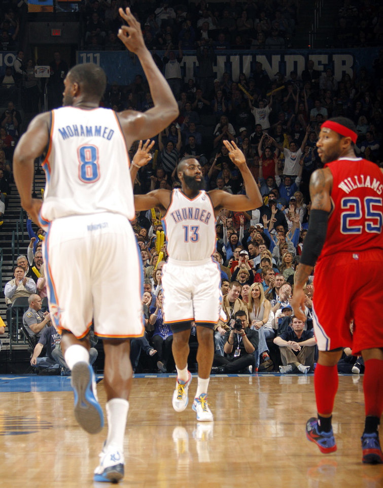 Photo - Oklahoma City Thunder guard James Harden (13) reacts after hitting a three point shot during the NBA basketball game between the Oklahoma City Thunder and the Los Angeles Clippers at Chesapeake Energy Arena on Wednesday, March 21, 2012 in Oklahoma City, Okla.  Photo by Chris Landsberger, The Oklahoman