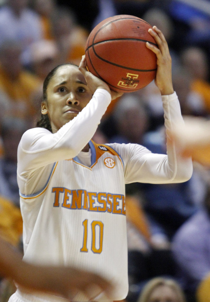 Photo - Tennessee guard Meighan Simmons (10) shoots in the first half of an NCAA college basketball game against Vanderbilt, Monday, Feb. 10, 2014, in Knoxville, Tenn. (AP Photo/Wade Payne)