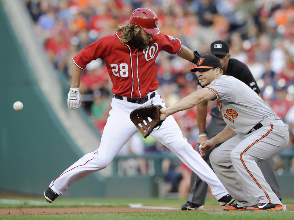 Photo - Washington Nationals' Jayson Werth (28) gets back to first safely on a pickoff attempt as Baltimore Orioles first baseman Chris Davis (19) awaits the ball during the first inning of a baseball game, Monday, Aug. 4, 2014, in Washington. (AP Photo/Nick Wass)