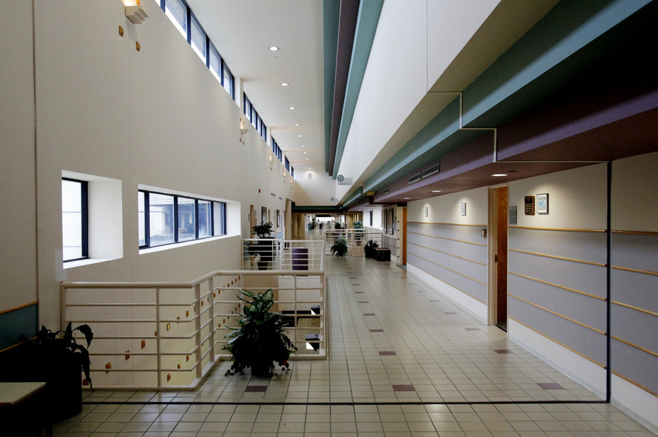 Photo - Colorful halls are part of the campus of the National Center for Employee Development (NCED) on Wednesday, March 7, 2012, in Norman, Okla.  Photo by Steve Sisney, The Oklahoman
