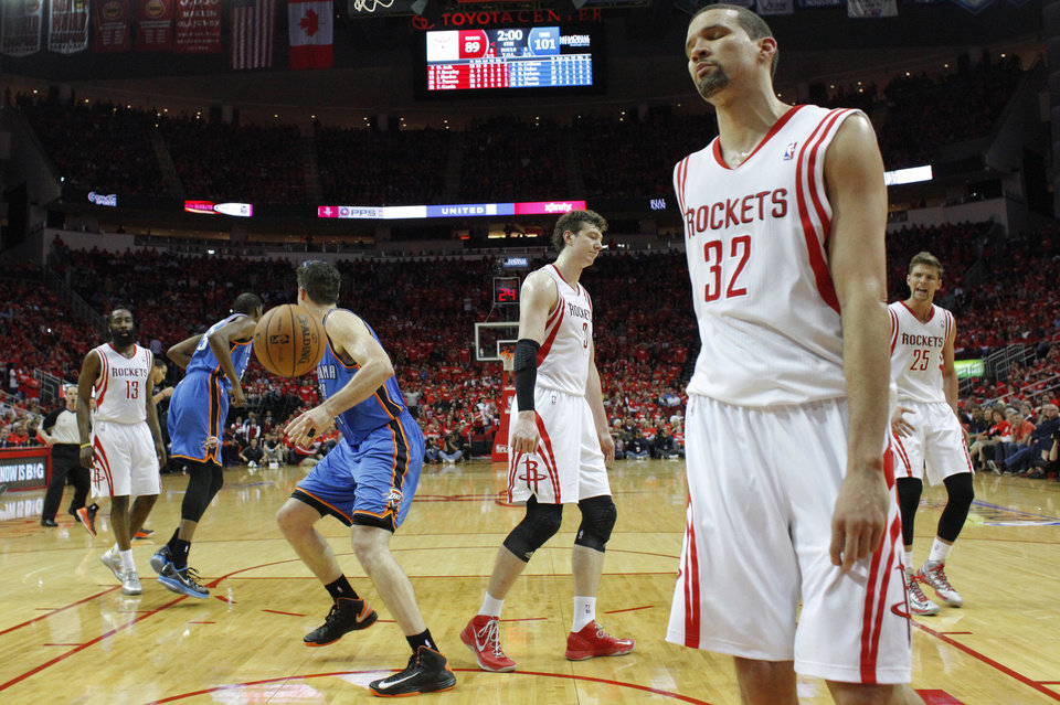 Houston's Francisco Garcia (32) reacts during Game 6 in the first round of the NBA playoffs between the Oklahoma City Thunder and the Houston Rockets at the Toyota Center in Houston, Texas, Friday, May 3, 2013. Oklahoma City won 103-94. Photo by Bryan Terry, The Oklahoman