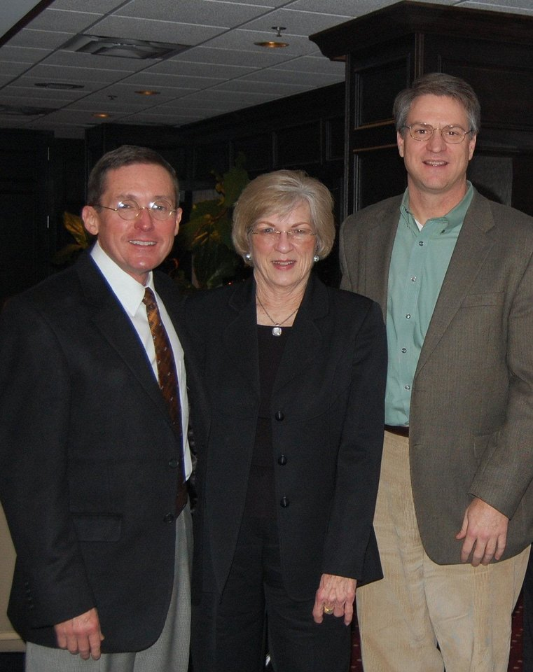 Photo - From left, Allen Brown, Gloria Stevens and Gary James at Steven's service celebration. PHOTO PROVIDED