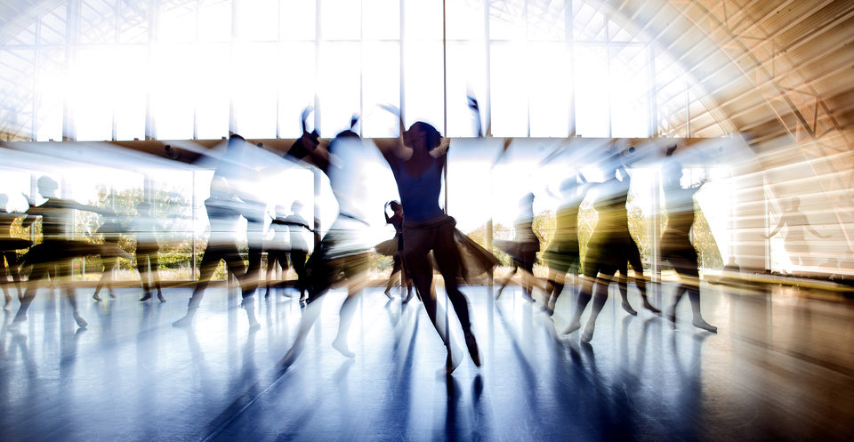 Photo -  Oklahoma City Ballet dancers rehearse an act from
